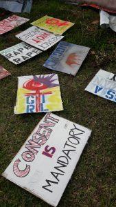 Posters demanding gender equality.