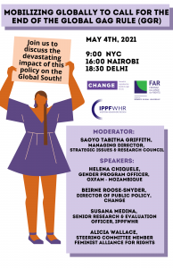 """Poster includes logos of organizers and describes event, speakers and moderator. Woman holding a sign that says: """"Join us to discuss the devastating impact of this policy on the Global South""""."""