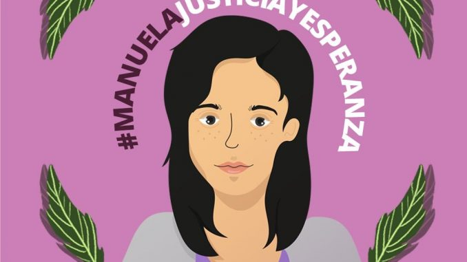 poster of drawing of Manuela, pink background, text says #ManuelaJusticiayEsperanza