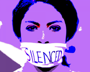"""Woman with a gag on her mouth and the word """"Silence"""" written on it."""