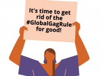 """picture of woman in a purple dress, holding a sign that says """"It's time to get rid of the #GlobalGagRule for good!"""""""